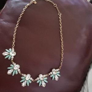 J. Crew Turquoise & Rhinestone Statement Necklace